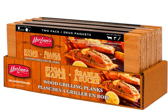 two pack sugar maple grilling planks in display box