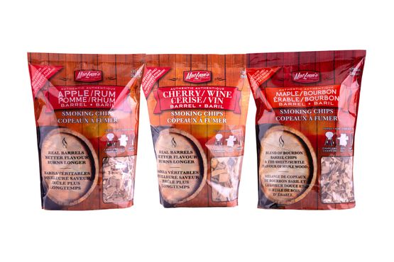 three bags of different blended flavor bbq smoking chips